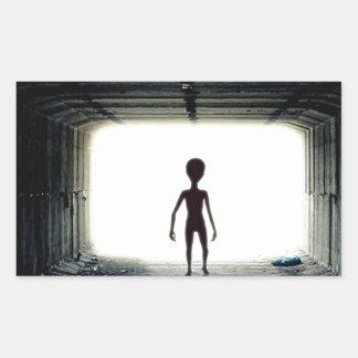 Alien Leaving Spaceship Rectangular Sticker