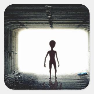 Alien Leaving Spaceship Square Sticker