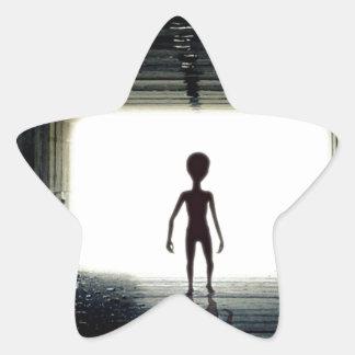 Alien Leaving Spaceship Star Sticker