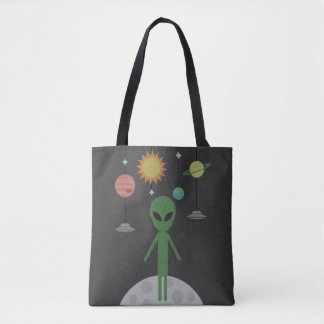 Alien on the Moon Tote Bag
