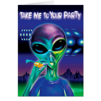 Alien Party note card - customised message