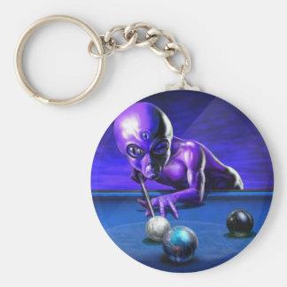 Alien Playing Pool Keychain