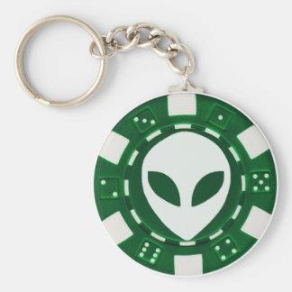 alien poker chip green key ring