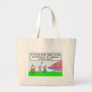 alien pregnant born american citizen saucer tote bags