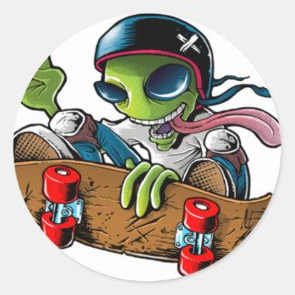 "alien radio ""stings logo "" classic round sticker"