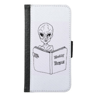 Alien reading Bible S6 Galexy Wallet Phone Case