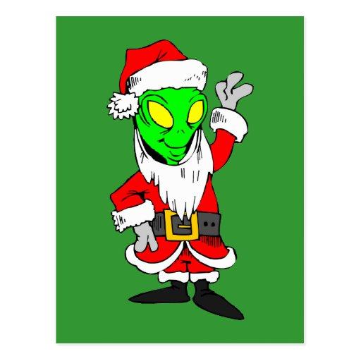 alien Santa Claus Post Card | Zazzle