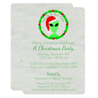 Alien Santa Holly Wreath Earthling Holiday Party 13 Cm X 18 Cm Invitation Card