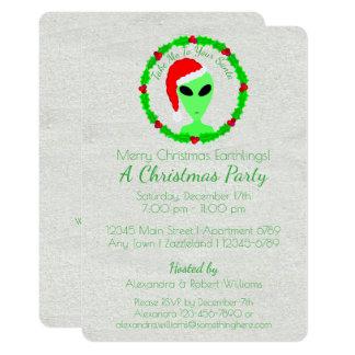Alien Santa Holly Wreath Earthling Holiday Party Card