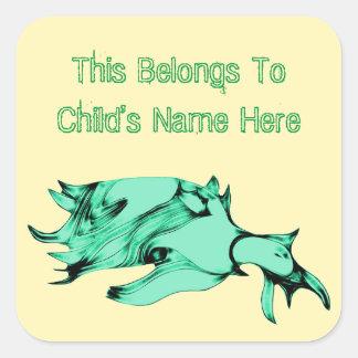 Alien Sea Creature Square Sticker