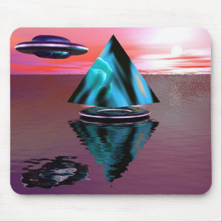 Alien ship and pyramid mouse pad