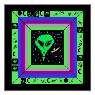 ALIEN & SHIP w/ HIDDEN CRYPTIC MESSAGE POSTER! Poster