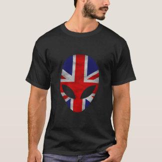 Alien Silhouette Great Britain United Kingdom Flag T-Shirt