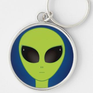 Alien Silver-Colored Round Key Ring