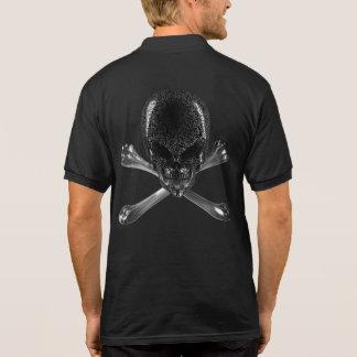 Alien Skull and Crossbones Black Polo Shirt