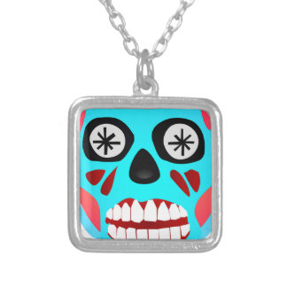 Alien Skull Silver Plated Necklace