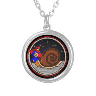 Alien snail silver plated necklace