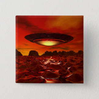Alien spacecraft over an alien planet, computer 15 cm square badge