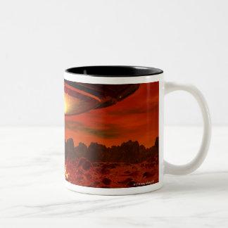 Alien spacecraft over an alien planet, computer Two-Tone coffee mug