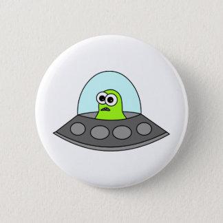 Alien Spaceship 6 Cm Round Badge