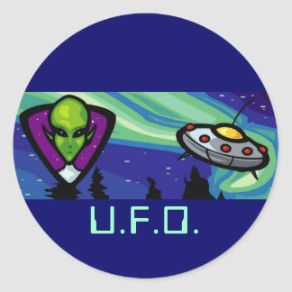 Alien Spaceship Classic Round Sticker