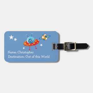 Alien Spaceship Luggage Tag