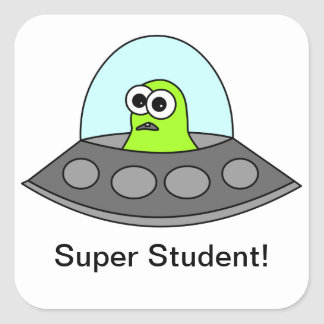 Alien Spaceship Super Student Square Square Sticker