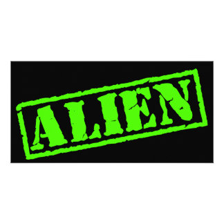 Alien Stamp Photo Card Template