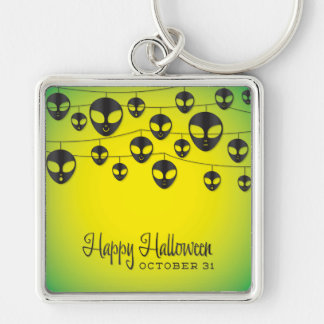 Alien string Silver-Colored square key ring