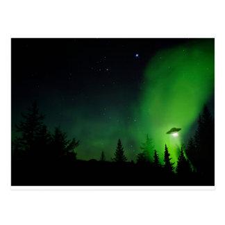Alien UFO in Alaskan Sky Postcard