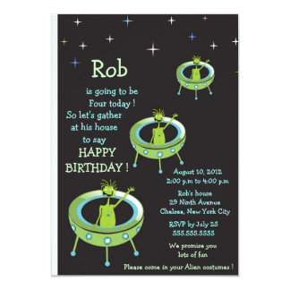 Alien Visitors - kids birthday invitation