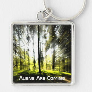 Aliens are coming Silver-Colored square key ring