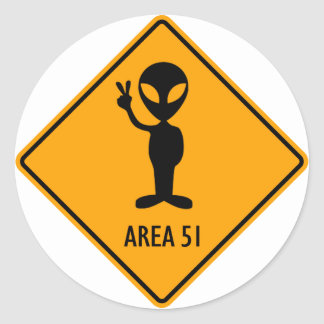 Aliens Area 51 Roswell Yellow Diamond Warning Sign Round Sticker