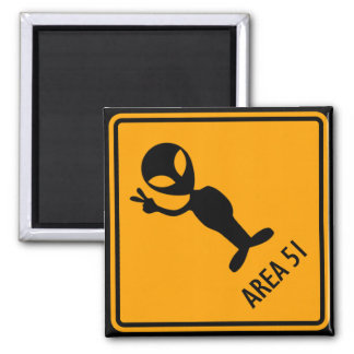 Aliens Area 51 Roswell Yellow Diamond Warning Sign Square Magnet