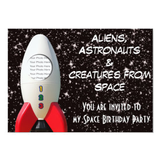 Aliens & Astronaut Space Birthday Invitation
