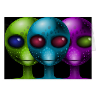 ALIENS CARD. HYPNOTIC  EXTRATERRESTRIAL EYES GREETING CARD