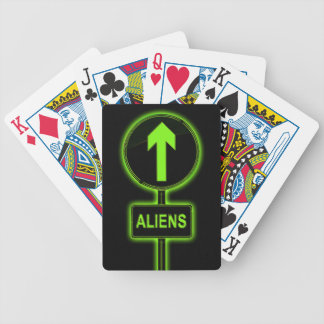 Aliens concept. bicycle playing cards