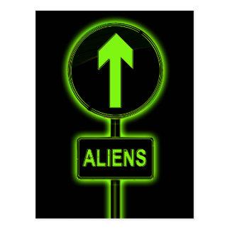 Aliens concept. postcard