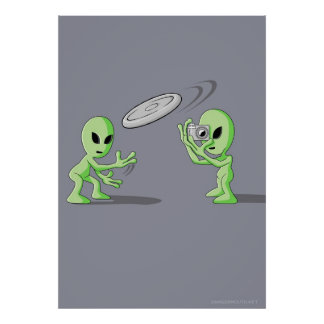Aliens Frisbee UFO Hoax Poster