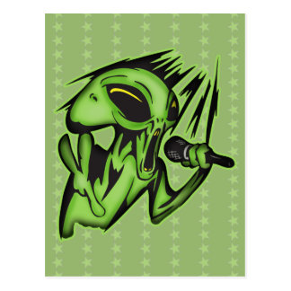 Aliens Invade The Karaoke Bar Postcard