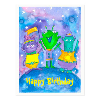 Aliens Outer Space Happy Birthday Postcard