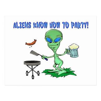 Aliens Party Postcard