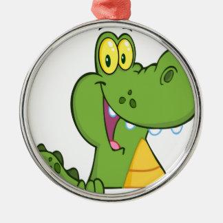 Aligator Or Crocodile Over A Sign Metal Ornament