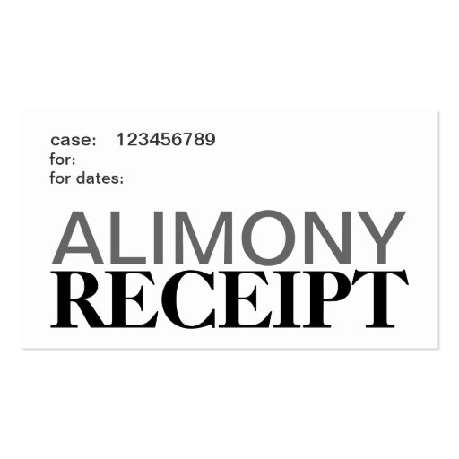 Alimony Support Receipt Cards Business Card Template