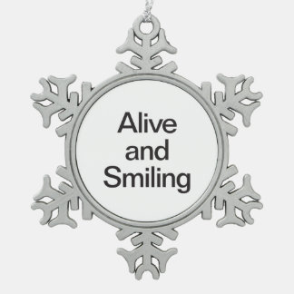 alive and smiling snowflake pewter christmas ornament