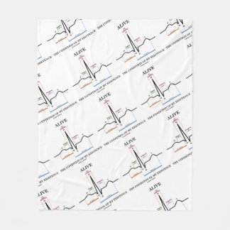 Alive The Condition Of My Existence ECG Heartbeat Fleece Blanket