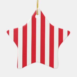 Alizarin Crimson and White Stripes Ceramic Star Decoration