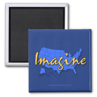 All 50 States Blue Magnet