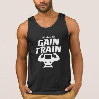 All Aboard The Gain Train men's black tank top