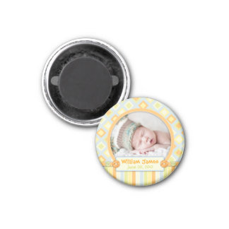All Aboard Train Birth Announcement 3 Cm Round Magnet